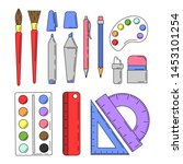 set of school tools in cartoon... | Shutterstock .eps vector #1453101254
