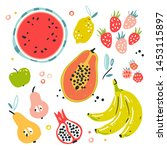 fruit collection in flat hand...   Shutterstock .eps vector #1453115897
