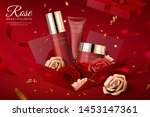 cosmetic set ads with paper... | Shutterstock .eps vector #1453147361