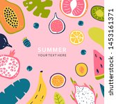 summer banner with pieces of... | Shutterstock .eps vector #1453161371