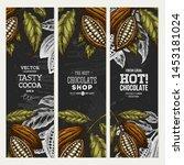 cocoa bean vertical banner... | Shutterstock .eps vector #1453181024