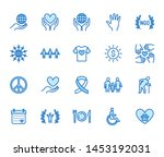 charity flat line icons set.... | Shutterstock .eps vector #1453192031