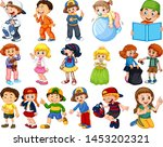 kids in large group acting our... | Shutterstock .eps vector #1453202321
