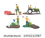 set of people working on farm.... | Shutterstock .eps vector #1453212587