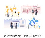 set of people working with real ... | Shutterstock .eps vector #1453212917