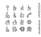 alcoholic drinks line icon set. ... | Shutterstock .eps vector #1453213214