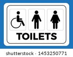 restroom sign. toilet sign with ... | Shutterstock .eps vector #1453250771