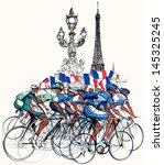 action,alexander iii,arrival,athletes,bicycle,bikes,biking,competition,cycling,cyclists,de,drawing,eiffel,flag,france