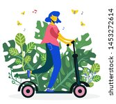 woman riding scooter on garden... | Shutterstock .eps vector #1453272614