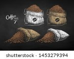 vector chalk drawn sketches set ... | Shutterstock .eps vector #1453279394