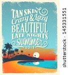 retro vintage summer poster... | Shutterstock .eps vector #145331551
