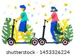 man and woman riding scooter on ... | Shutterstock .eps vector #1453326224