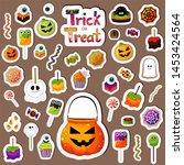 halloween sweets stickers set.... | Shutterstock .eps vector #1453424564