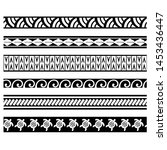 polynesian set tattoo line... | Shutterstock .eps vector #1453436447