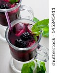 refreshing ice cold blackberry... | Shutterstock . vector #145345411