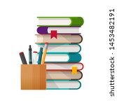 school books stack with pens... | Shutterstock . vector #1453482191