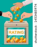 rating box and hand with golden ... | Shutterstock .eps vector #1453485974