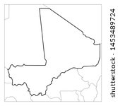 map of mali black thick outline ... | Shutterstock .eps vector #1453489724