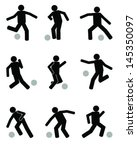 silhouettes of football players ... | Shutterstock .eps vector #145350097