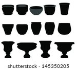 Silhouettes Of Flower Pots And...