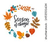 vector autumn wreath with... | Shutterstock .eps vector #1453531634
