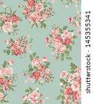 Stock vector vintage floral flower seamless pattern background 145355341