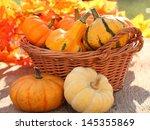 Pumpkins In Basket. Defocused...