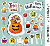 trick or treat stickers... | Shutterstock .eps vector #1453582607