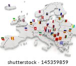 three dimensional map of europe.... | Shutterstock . vector #145359859