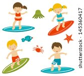 cute collection of surfing kids.... | Shutterstock .eps vector #145360417