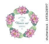 wreath of pink lotus. delicate  ... | Shutterstock .eps vector #1453628597