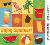 a set of vintage summer themed... | Shutterstock .eps vector #145363444