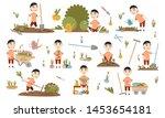 set asian boy gardening plants  ... | Shutterstock .eps vector #1453654181