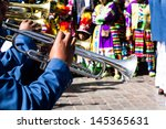 peruvian dancers at the parade... | Shutterstock . vector #145365631