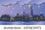 scenery of rainy season with... | Shutterstock .eps vector #1453676471