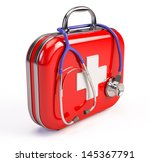 stethoscope and first aid kit | Shutterstock . vector #145367791