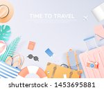 travel various items in paper...   Shutterstock .eps vector #1453695881