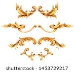 watercolor set of golden... | Shutterstock . vector #1453729217