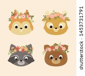 cute animals portraits  a... | Shutterstock .eps vector #1453731791