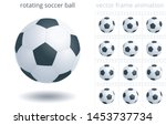 rotating soccer ball. 3d... | Shutterstock .eps vector #1453737734