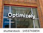 optimizely sign and logo on... | Shutterstock . vector #1453743854