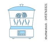 kitchen steam cooker icon. thin ...