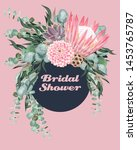 vintage wedding card with... | Shutterstock .eps vector #1453765787