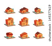 retro colored 3d buildings icons | Shutterstock .eps vector #145377619