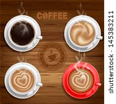 set of four coffee cups on... | Shutterstock .eps vector #145383211