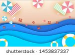 top view beach background with... | Shutterstock .eps vector #1453837337