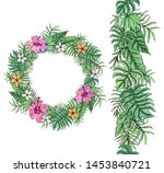 flower wreath with tropical... | Shutterstock .eps vector #1453840721