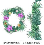 flower wreath with tropical... | Shutterstock .eps vector #1453845407