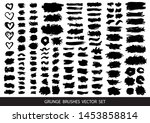 set of black paint  ink brush... | Shutterstock .eps vector #1453858814