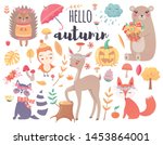 cute autumn woodland animals... | Shutterstock .eps vector #1453864001